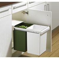 HETTICH Einbauabfallsammler ArciTech / InnoTech Pull, mit 2 Eimern, KF - Korpusbreite min: 300 mm - Kunststoff/Kunststoff - grün, weiß