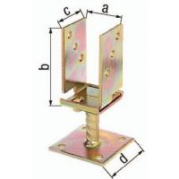 GAH U-Pfostenträger 71-131x110x70x100mm TZN breitenverstellbar,zum Aufschr.GAH