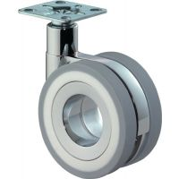 BS Rollen Design-Doppellenkrolle 75mm 50 kg o.Feststeller PU grau 47x47mm
