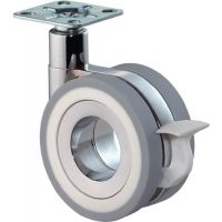BS Rollen Design-Doppellenkrolle m.Feststeller 75mm 50 kg m.Feststeller PU grau 47x47mm