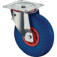 BS Rollen Lenkrolle m.Feststeller D.260mm Trgf.160 kg m.Platte Rollenlager Gum.blaugrau