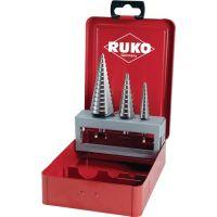 RUKO Stufenbohrersatz D.4-12/4-20/4-30mm HSS geradegenutet 3tlg.Metallkass.RUKO