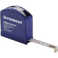 PROMAT Taschenrollbandmaß L.3m Band-B.13mm mm/cm EG II Ku.Sichtfenster PROMAT