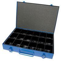 DINZL Sortimentskasten B330xT240xH50mm 18 Fächer o.Beschriftungsschild blau