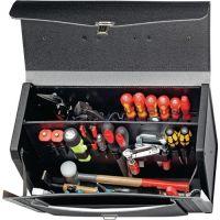 PROMAT Werkzeugtasche B.470mm T.338mm H.210mm Industrieleder m.Mittelwand sw genarbt