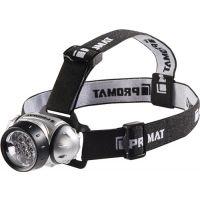 PROMAT LED Kopfleuchte 3xAAA Batt. 7 LEDs 20Lm Leuchtd.10h Leuchtw.30m IPX4 ABS PROMAT