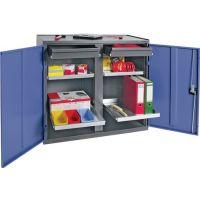 PROMAT Werkzeug-/Beistellschrank H1000xB1000xT500mm 2 Schubl.,4 BD grau/blau NCS PROMAT