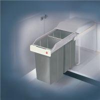 HAILO Abfallsammler Multi-Box 2 x 15l B260xT510xH460mm grau f.Unterschränke ab B.300mm