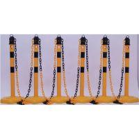 Sperrpfostenset PU gelb/schwarz m.Sechskantfuß D63xH1000mm 6 Pfosten u.5 Ketten