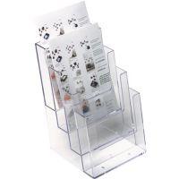 HELIT Tischprospekthalter 4 x DIN A5 hoch Ku.transp.freistehend HELIT