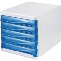 HELIT Ablagebox 5 Schubl.lichtgrau/blautransparent Ku.H245xB265xT340mm HELIT