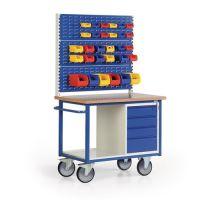 PROTAURUS Werkstattwagen 3 Schlitzplatten H1890xB1200xT690mm grau/blau 3x120mm,1x180mm