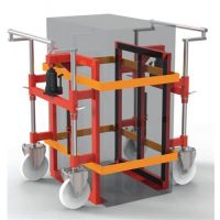 KRAMP Hubtransportroller Tragfähigkeit/Paar 2800kg Polyamid-Bereifung rot