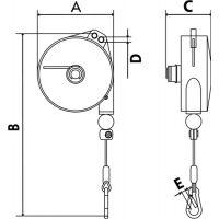 PLANETA Federzug Trgf.6-8kg Seillänge 2,0m Seil-D.2,0mm