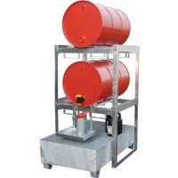 BAUER Abfüllstation B910xL1200xH360mm silber 200 l-Fässer m.Auffangwanne