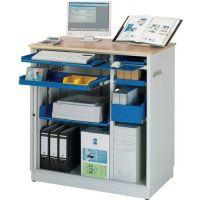 RAU Computer-Station H1100xB1030xT660mm stationär enzianblau lichtgrau