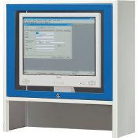 RAU Monitorgehäuse H710xB720xT280mm lichtgrau/enzianblau m.Ventilator