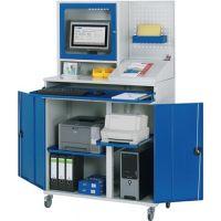 RAU Computerschrank H1895xB1100xT520mm mob.blau lichtgrau Monitorgeh.Lochpl.Pult