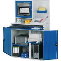 RAU Computerschrank H1770xB1100xT520mm stat.blau/grau Monitorgeh.,Lochpl.,Pult