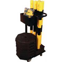 DANCOP Sperrpfostenset STA schwarz/gelb m.Wagen D60xH1000mm 6 Pfosten u.Kette à 25m