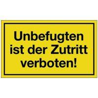 PROMAT Hinweiszeichen Unbefugten ist der Zutritt verboten L250xB150mm gelb schwarz Ku.