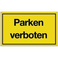 PROMAT Hinweiszeichen Parken verboten L250xB150mm gelb schwarz Ku.