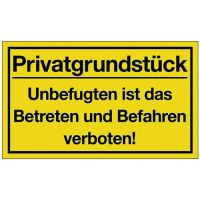 PROMAT Hinweiszeichen Privatgrundstück L400xB250mm gelb schwarz Ku.