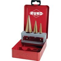 RUKO Stufenbohrersatz D.4-12/4-20/4-30mm HSS-TiN geradegenutet 3tlg.Metallkass.RUKO
