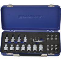 PROMAT Steckschlüsselsatz 27-tlg.1/4+1/2 Zoll T10-T55/E4-E20 PROMAT