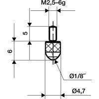 KÄFER Messeins.D.3mm L.6mm KGL M2,5 Rubin z.Messuhren KÄFER