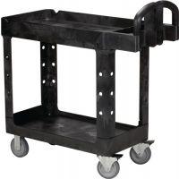 RUBBERMAID Tischwagen 2 Ladeflächen L770xB420mm schwarz Trgf.226kg Holme/Ladefläche PP